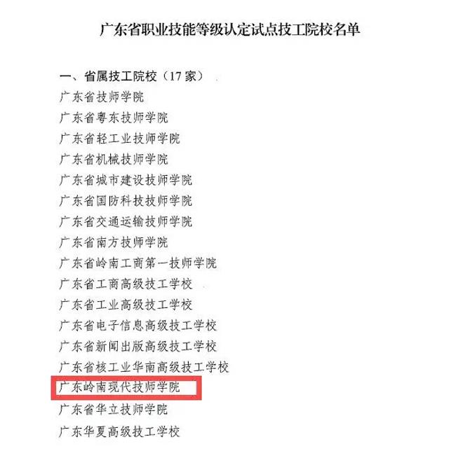 岭南现代技师学院成为省职业技能等级认定试点单位